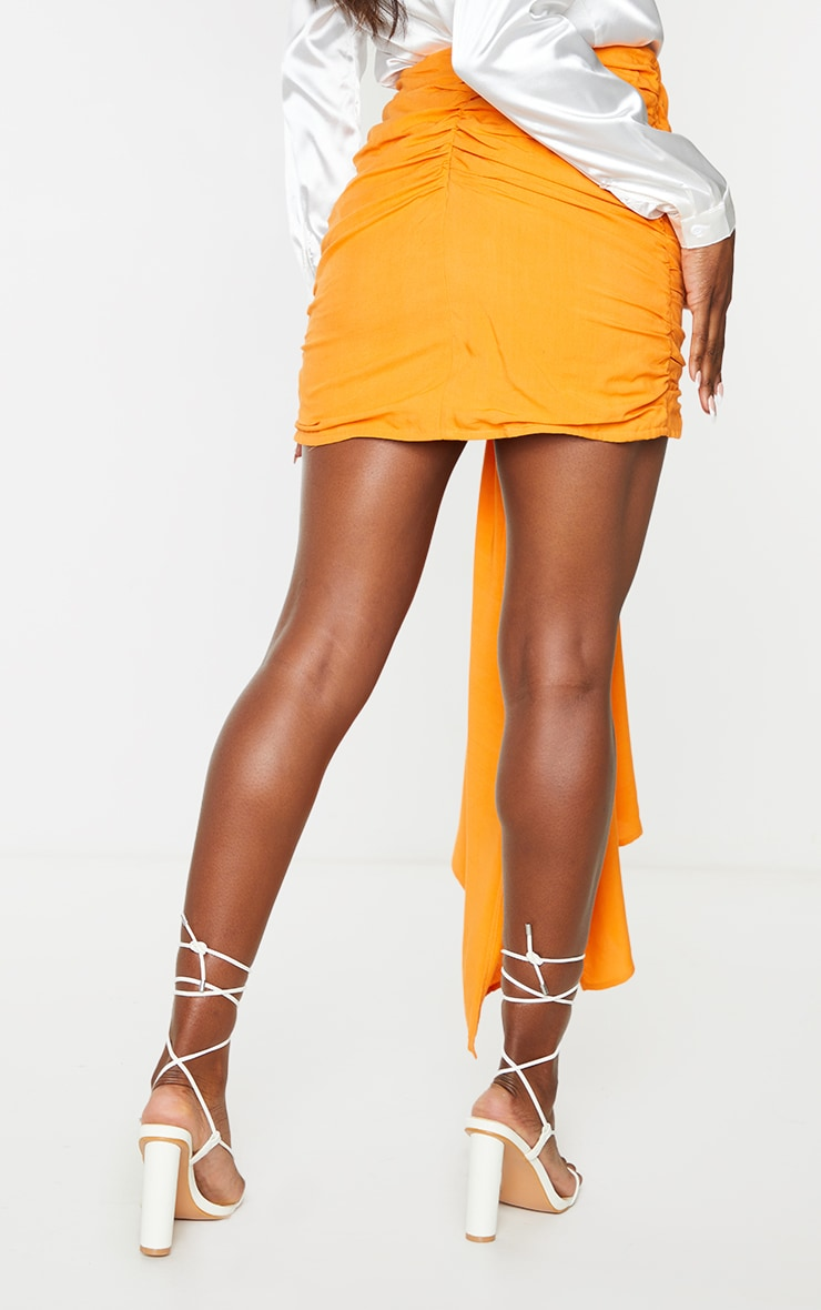 Orange Ruched Drape Front Mini Skirt 3