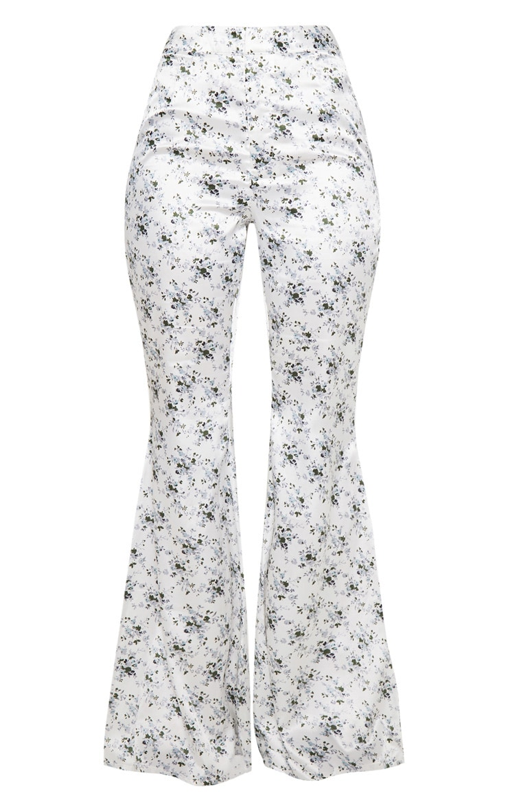 White Ditsy Floral Print Tailored Extreme Flared Pants 3