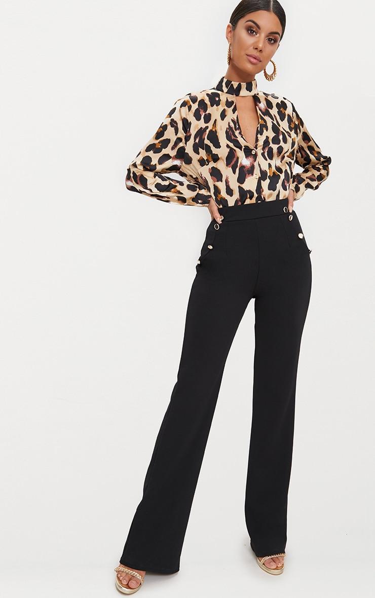 Tan Silky Leopard Print Choker Detail Blouse 4