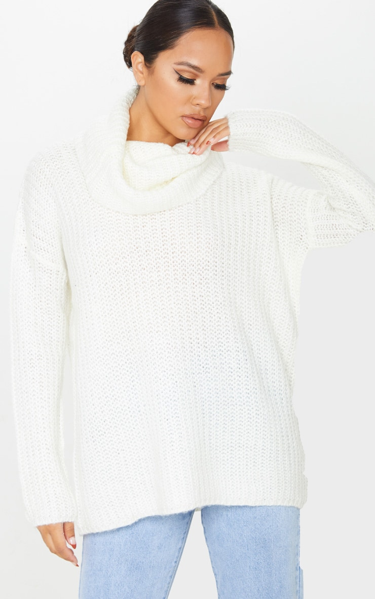 Cream Soft Knit Roll Neck Sweater 1
