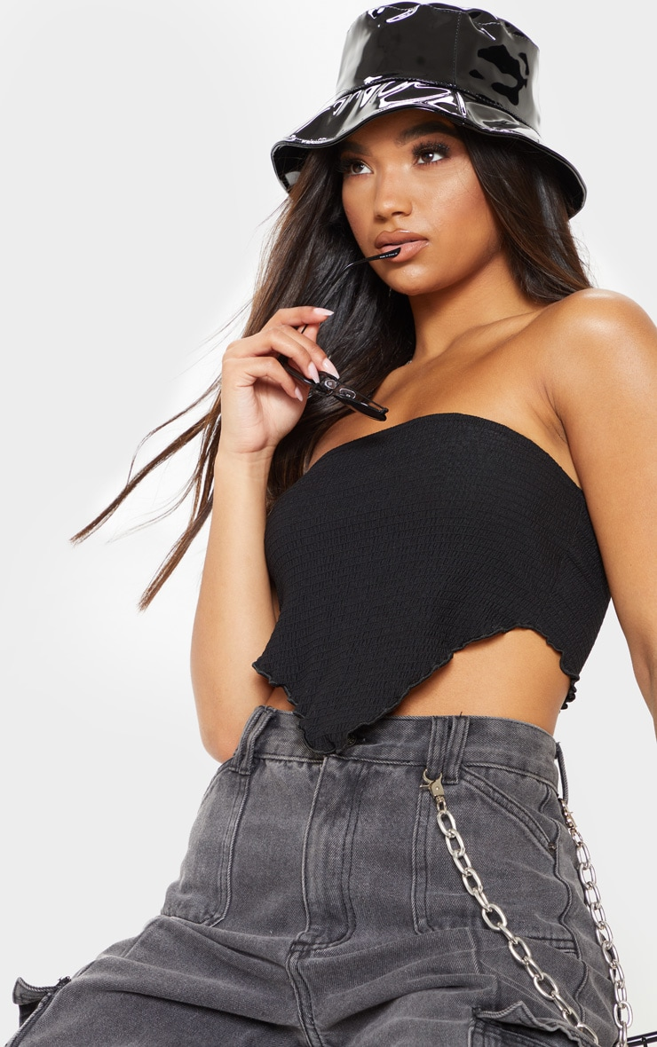 Black Crinkle Handkerchief Bandeau Top 1