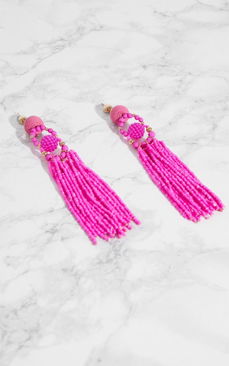 Pink Beaded Tassel Earrings 3