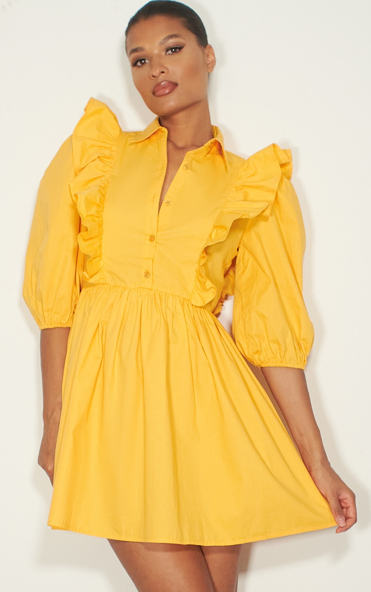 Yellow Ruffle Detail Puff Sleeve Smock Shirt Dress 1