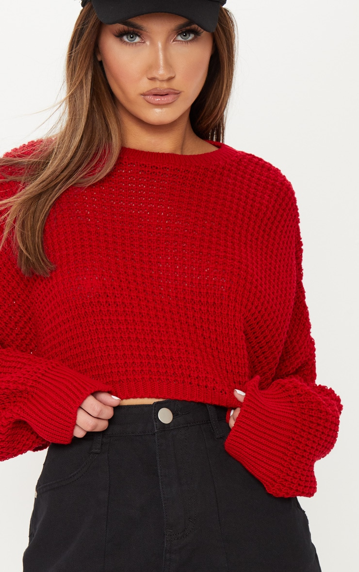 Red Fisherman Knitted Super Cropped Sweater 5