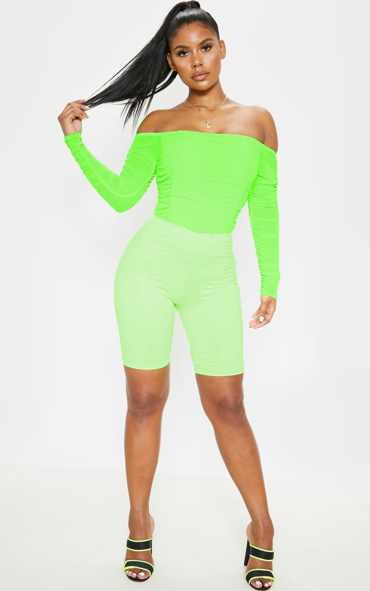 Lime Ruched Mesh Bardot Bodysuit 5