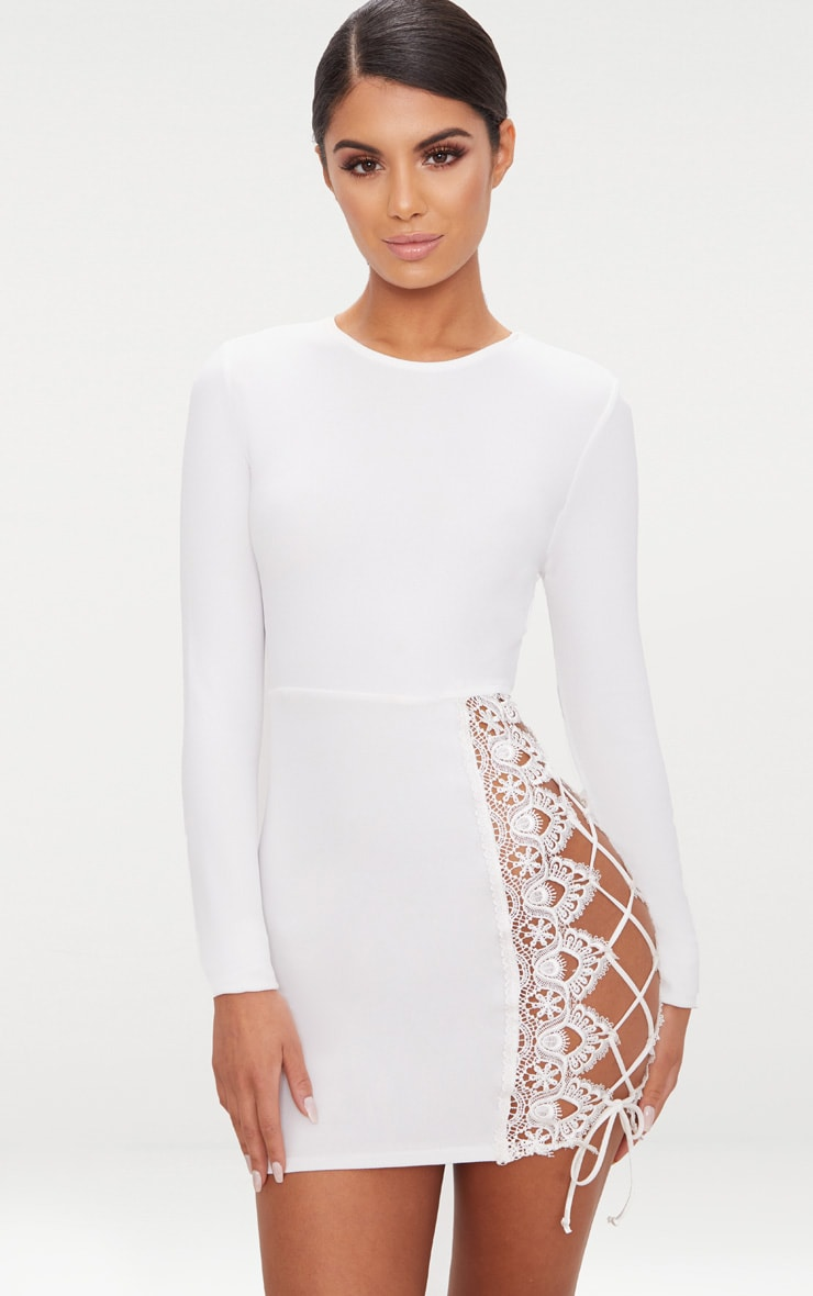 White Lace Up Side Long Sleeve Bodycon Dress