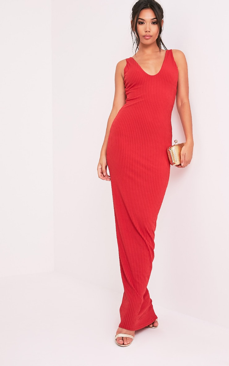 Decota Red Ribbed Plunge Maxi Dress 4