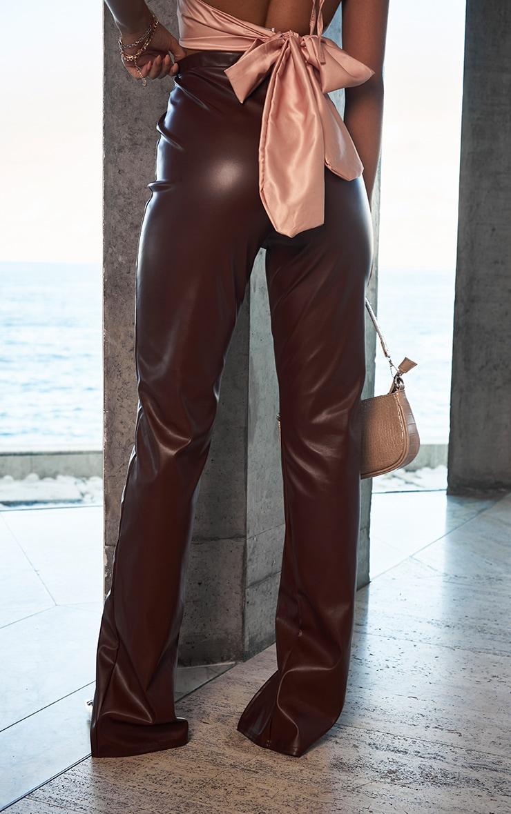 Chocolate Faux Leather Seam Detail Split Hem Trousers 3