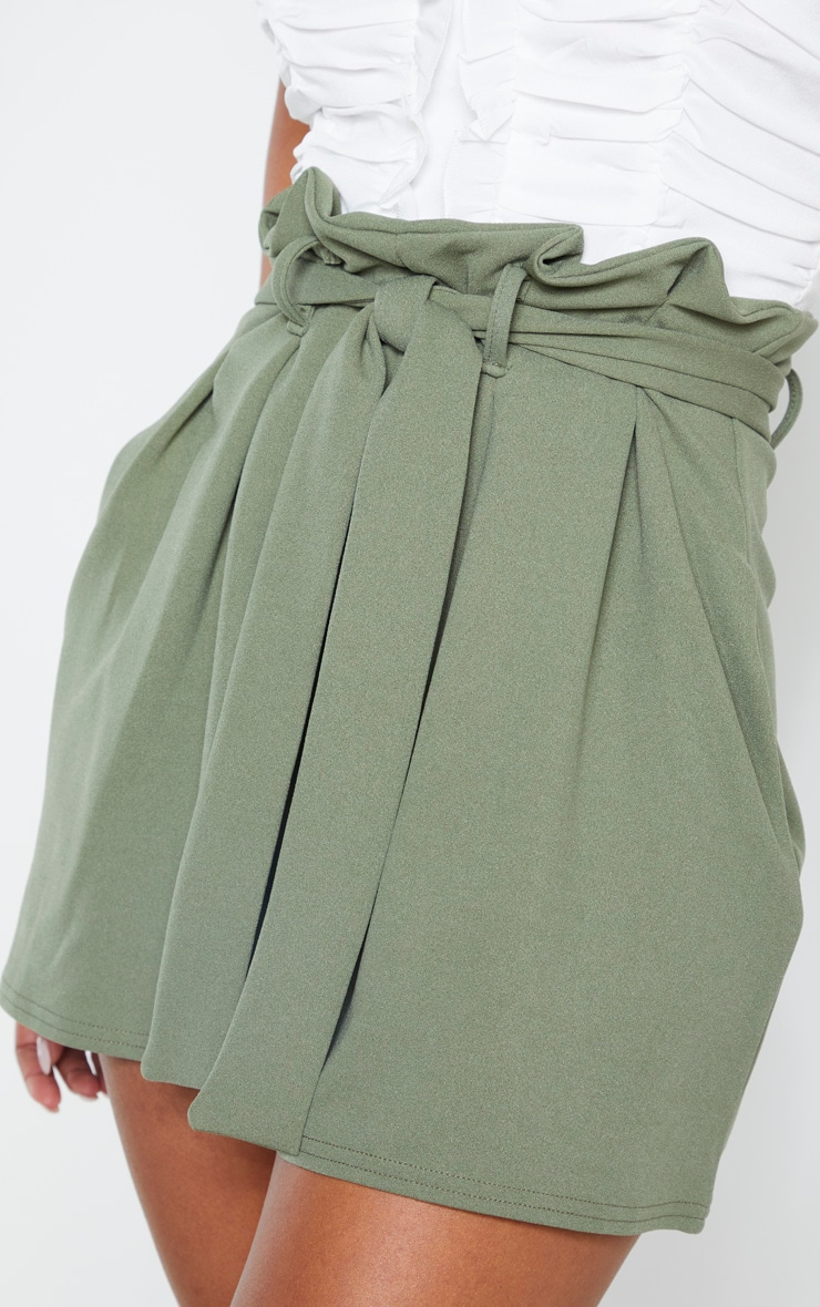 Khaki Pleated Waistband Tie Waist Short 6