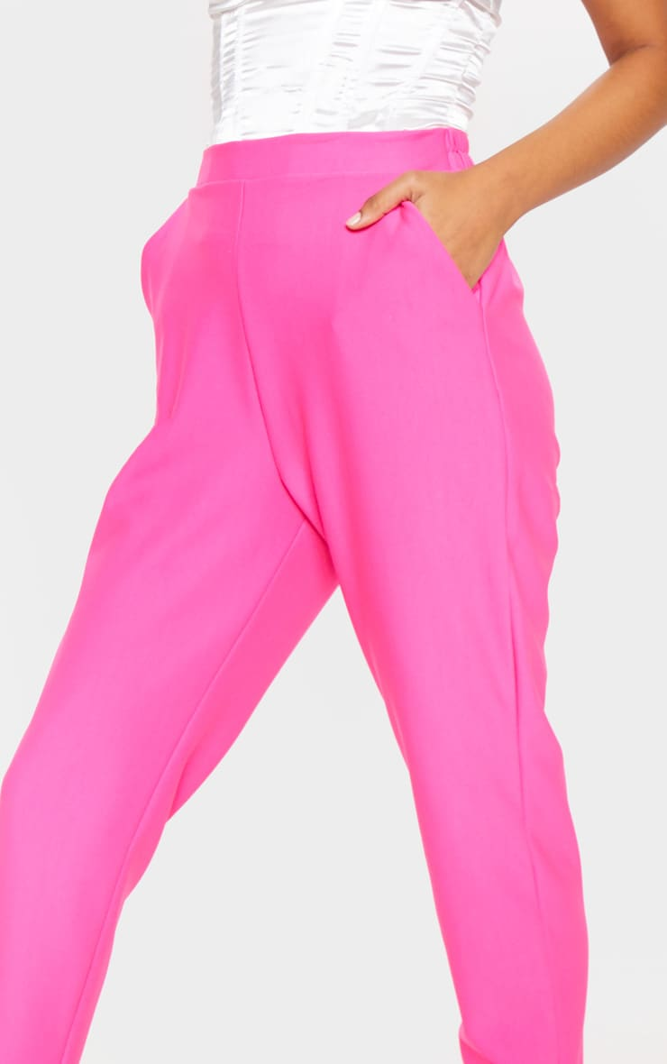 Bright Pink Woven Formal Elasticated Waist Skinny Pants 4