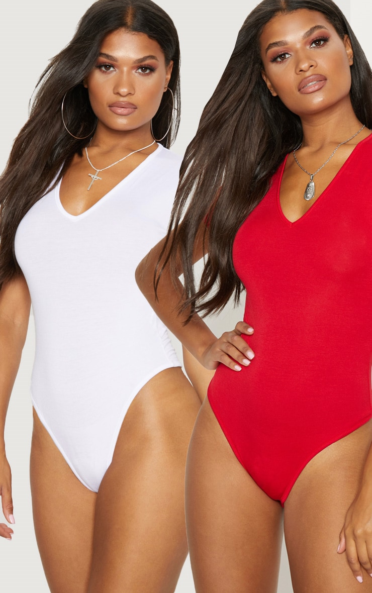 Basic White   Red V Neck Short sleeve Thong Bodysuit 2 Pack image 1 f1b088080