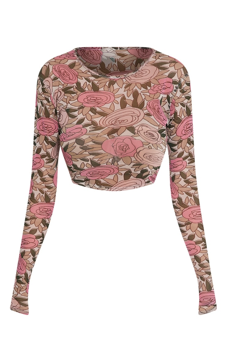 Denon Pink Floral Mesh Long Sleeve Crop Top 3