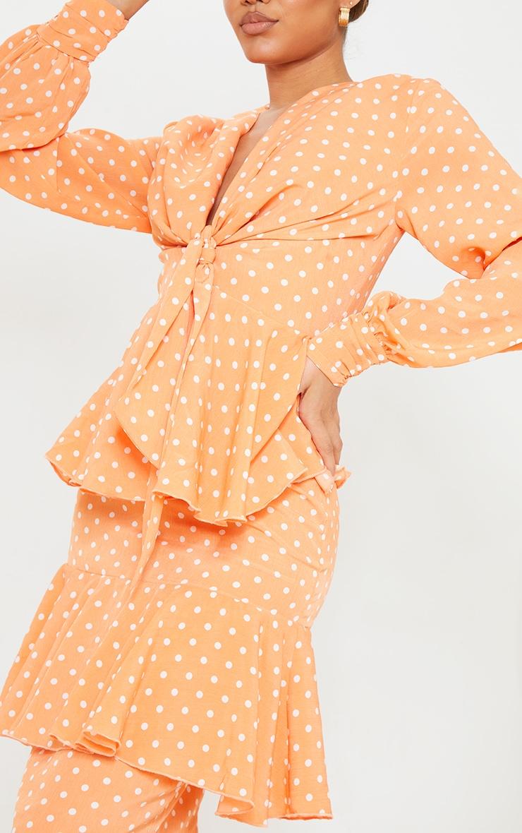 Peach Polka Dot Tiered Frill Long Sleeve Maxi Dress 4