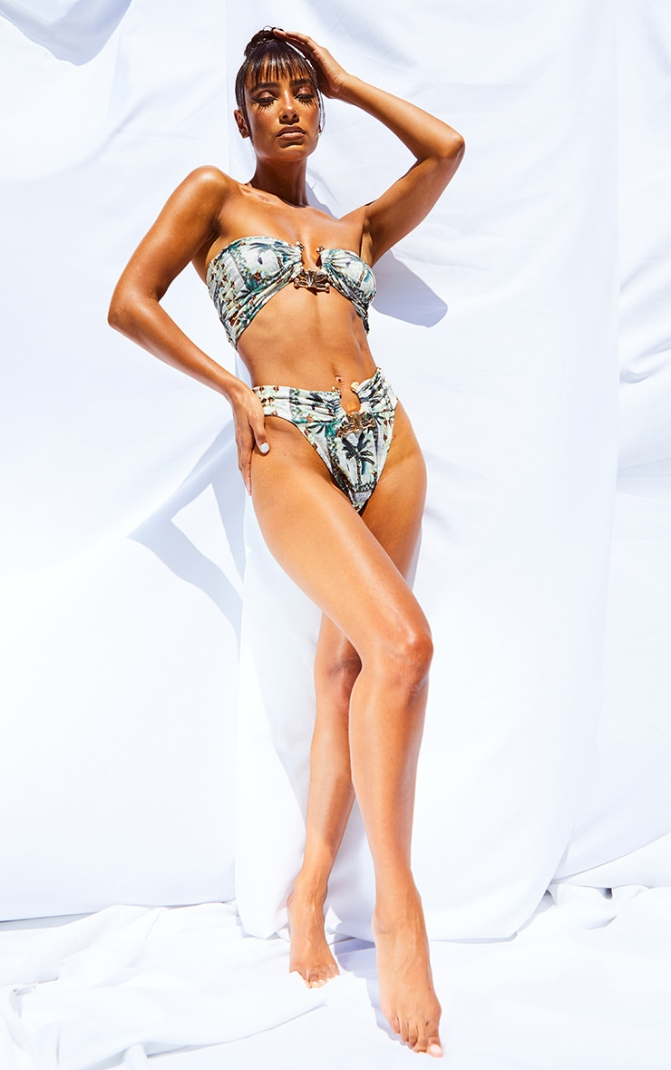 Cream Palm Print Hammered Trim Bikini Top 3