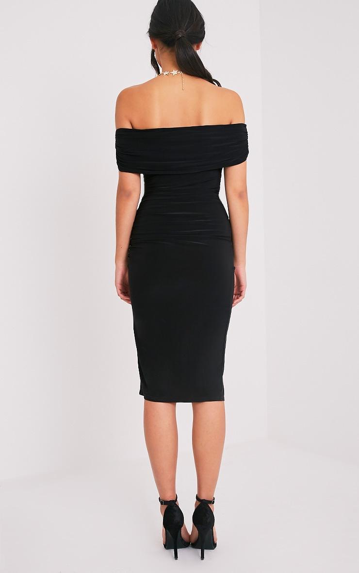 Briany Black Slinky Bardot Midi Dress 2