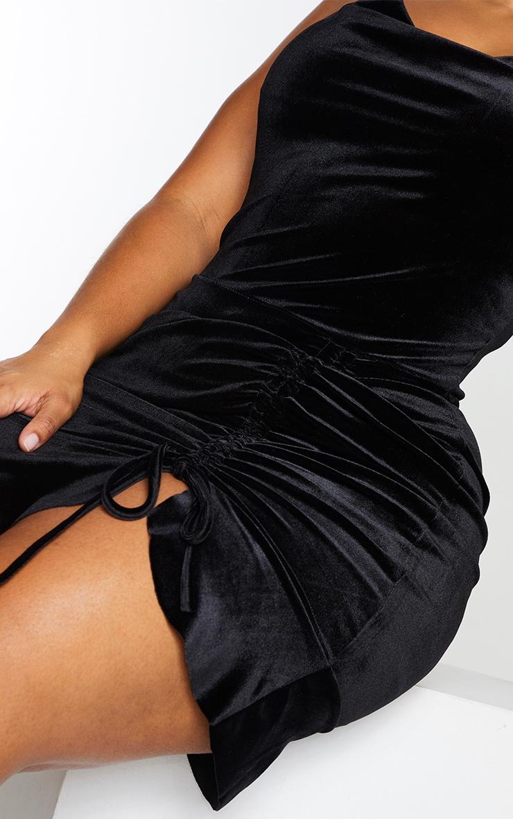 Plus Black Velvet Strappy Ruched Frill Hem Bodycon Dress 4
