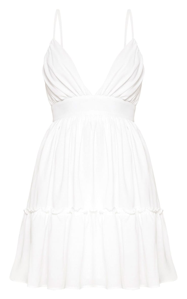 White Ruched Frill Detail Strappy Skater Dress 3