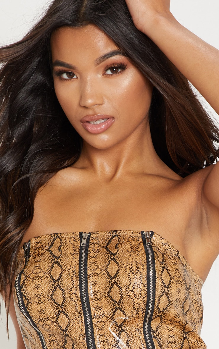 Camel Faux Leather Snake Print Zip Up Bandeau Crop Top 5