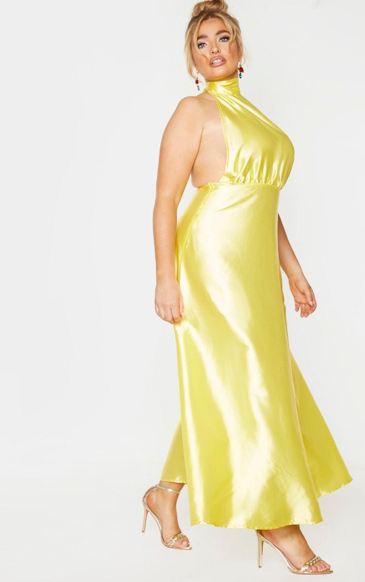Plus Bright Yellow Satin Halterneck Maxi Dress 3