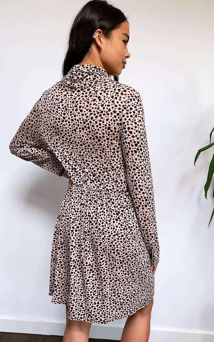 Blush Dalmatian Print Mask Smock Dress 2