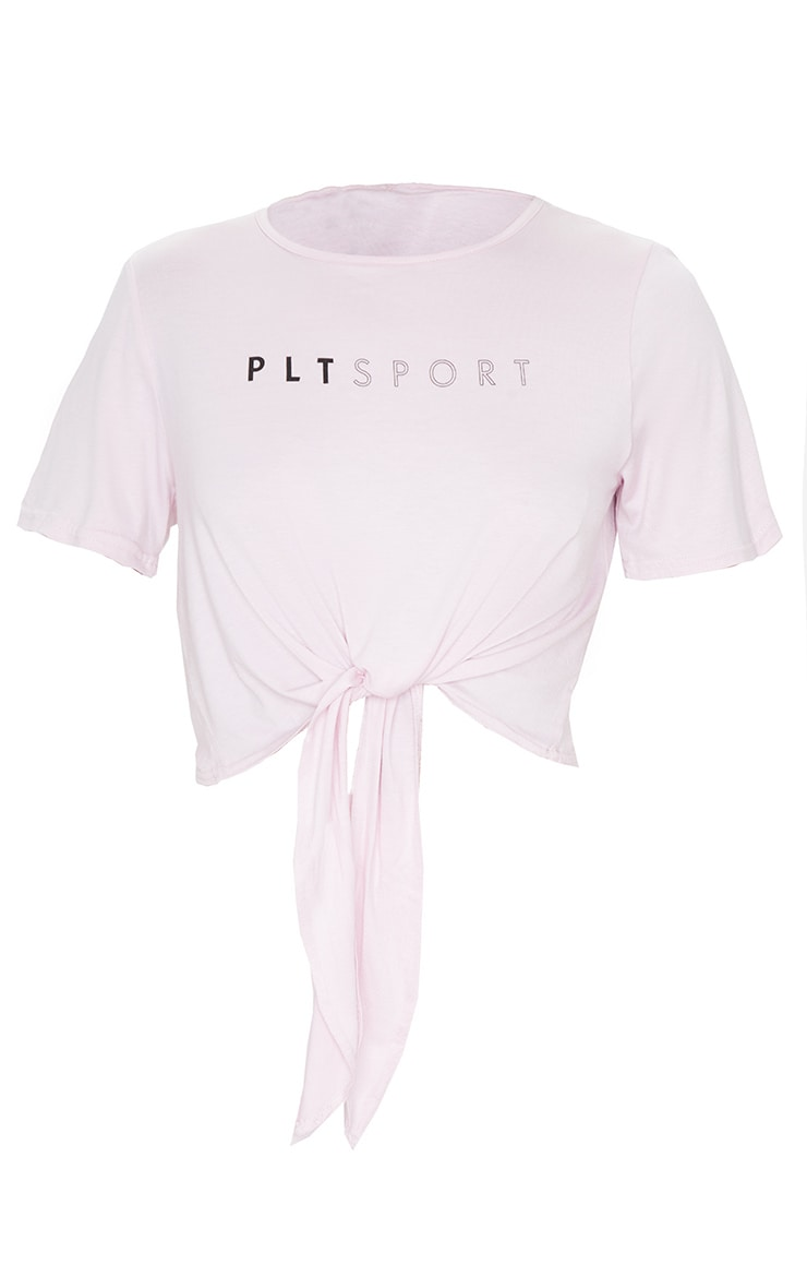 PRETTYLITTLETHING Pink Knot Front Gym Top 3