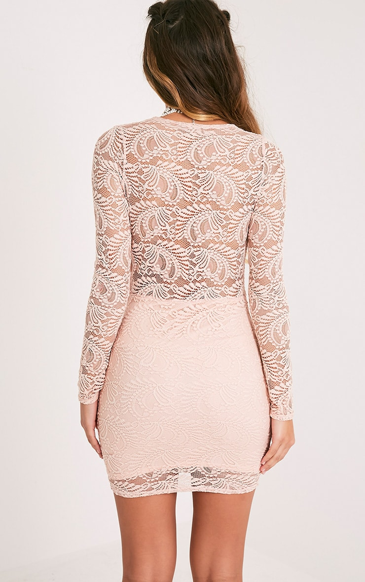 Sereenia Nude Long Sleeve Lace Bodycon Dress 2