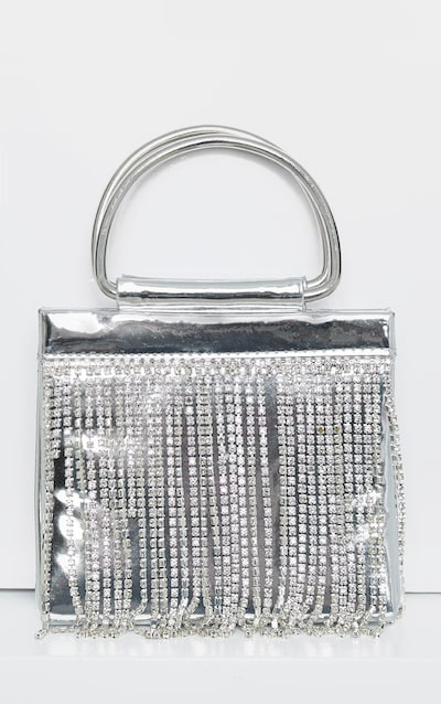 Metallic Silver Diamante Tassel Grab Bag