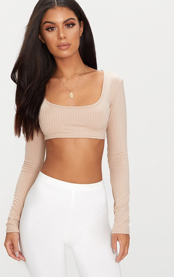 Basic Nude Rib Long Sleeve Crop Top  1