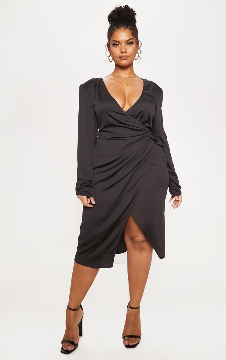 Black Drape Pleated Detail Midi Dress