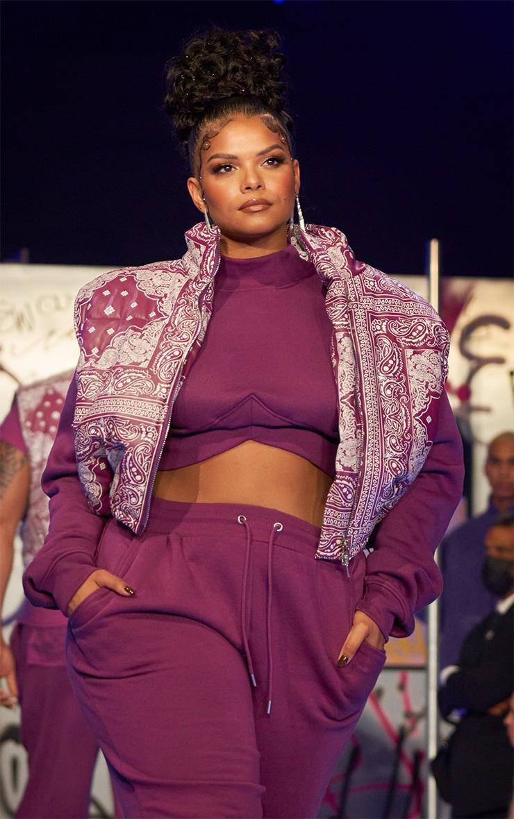 Plus Purple Unisex Paisley PU Oversized Vest 1