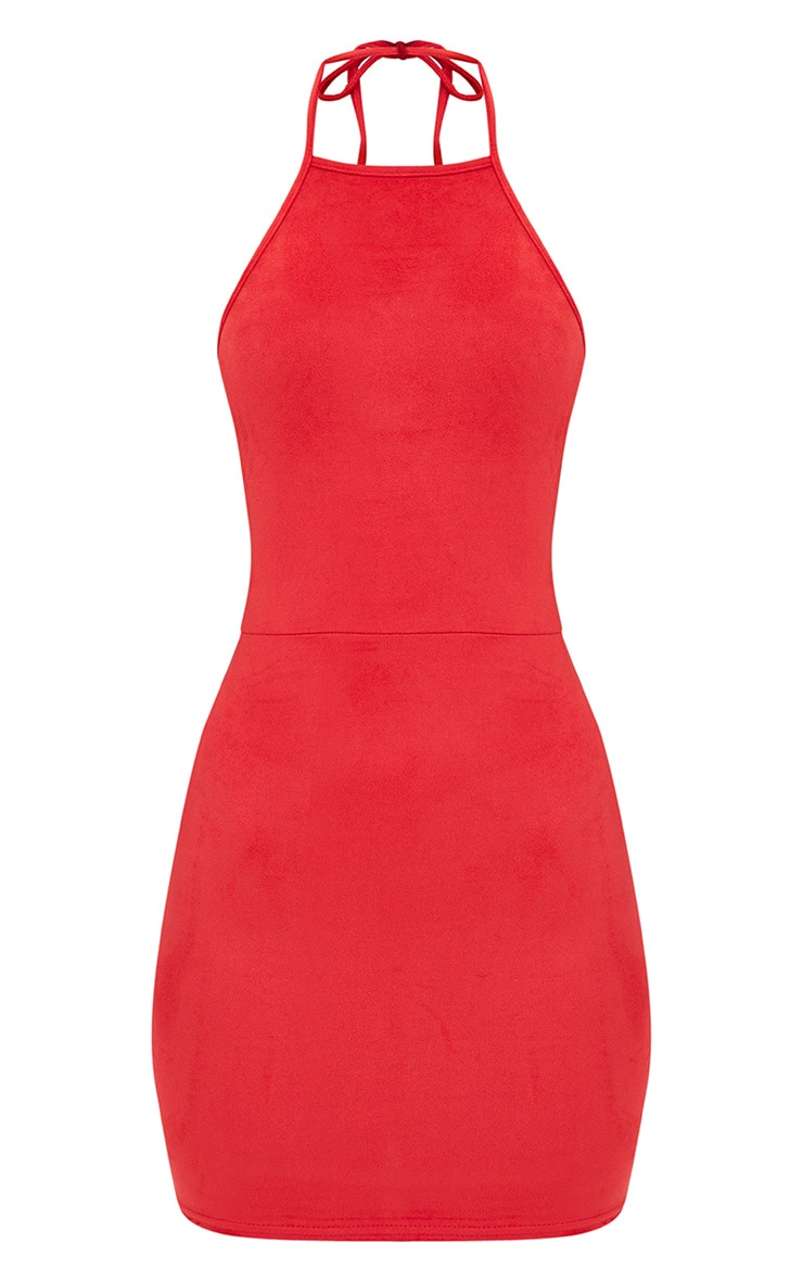 Red Suedette Strappy Back Bodycon Dress 3