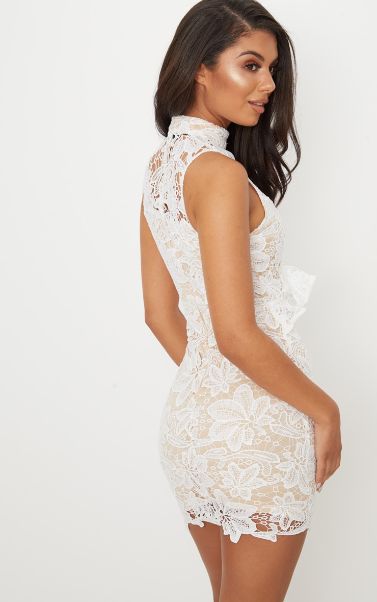 White Lace High Neck Frill Detail Bodycon Dress 2