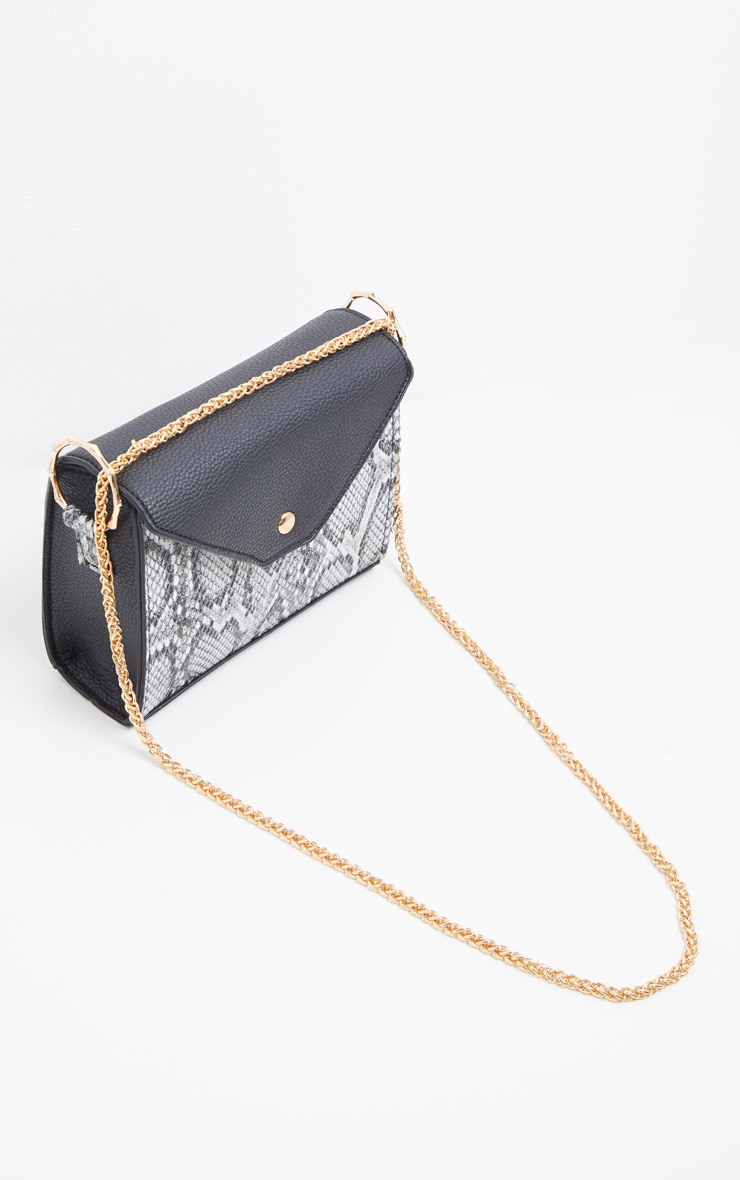 Grey Snake Print Bamboo Trim Chain Cross Body 2