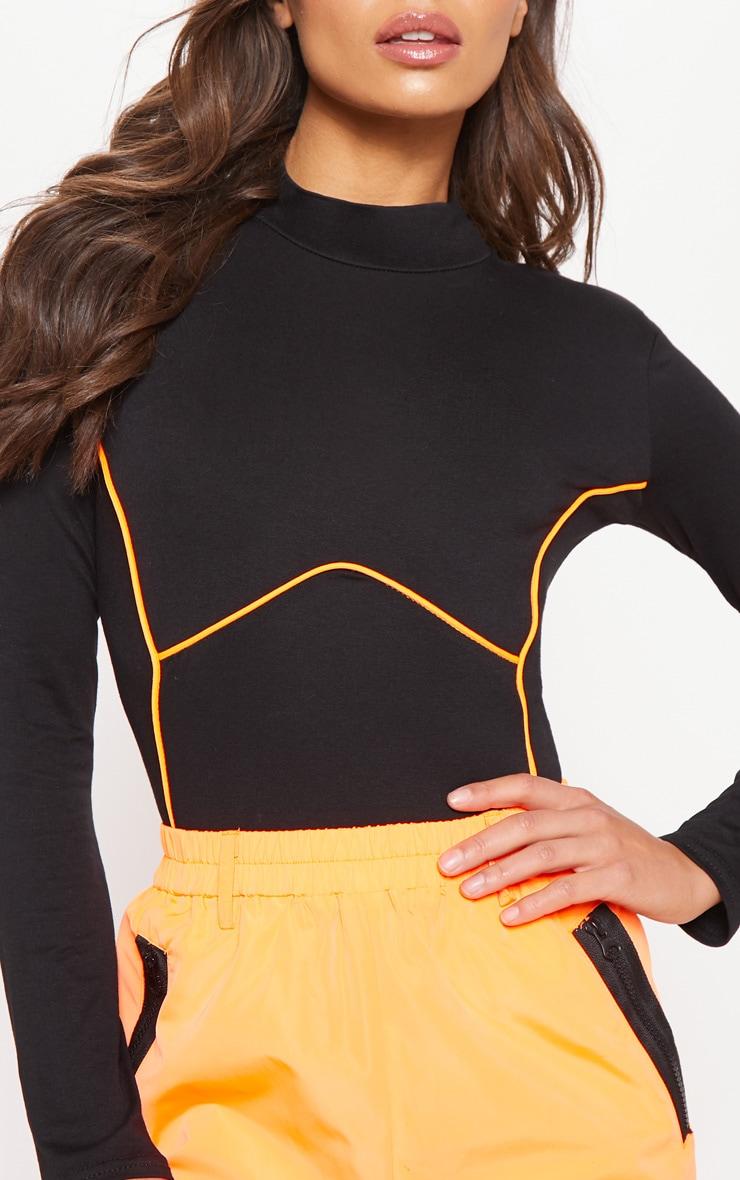 Black Contrast Panel High Neck Long Sleeve Bodysuit 6