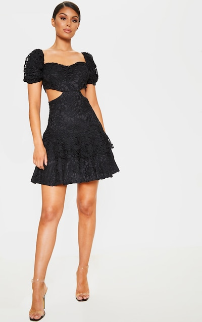 Black Lace Puff Sleeve Cut Out Skater Dress