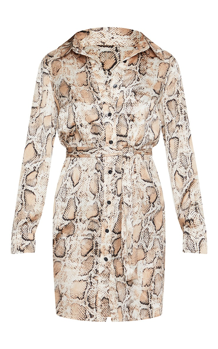 Beige Snake Print Satin Tie Waist Shirt Dress 3