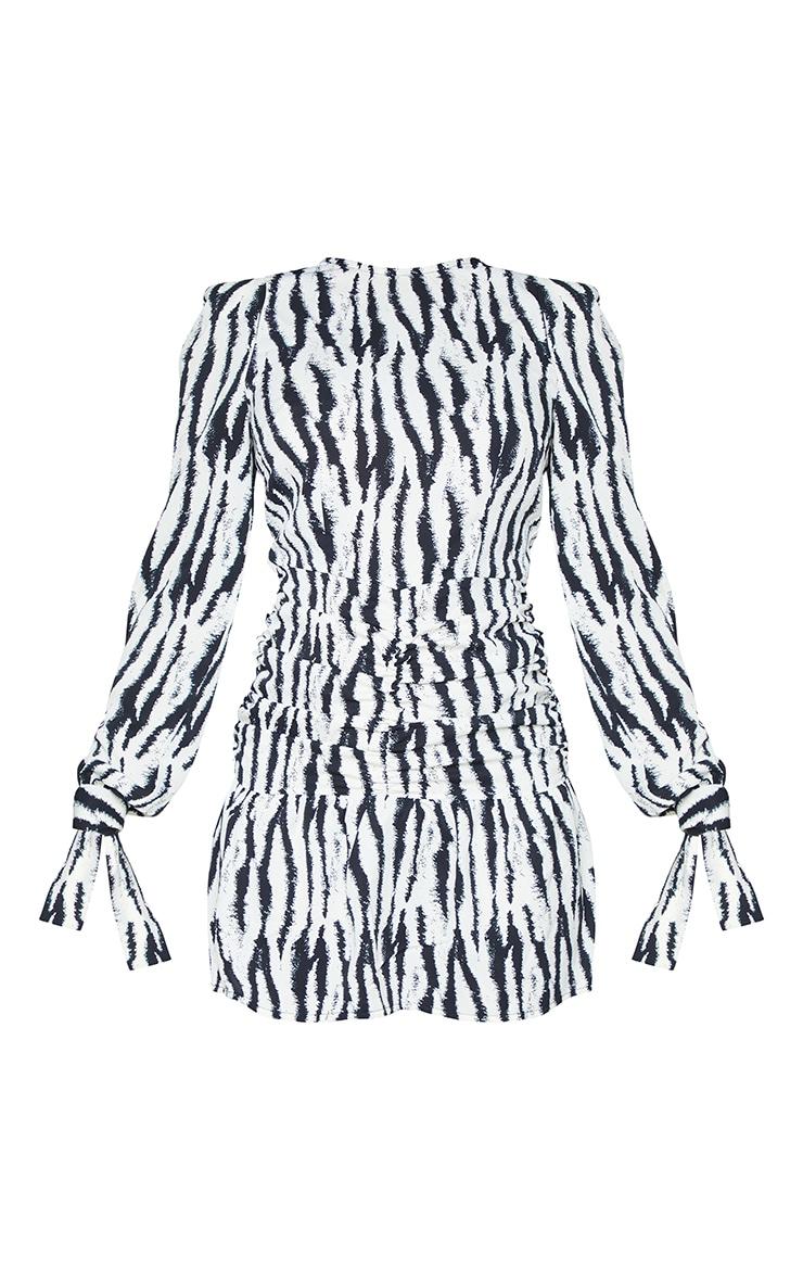 Monochrome Zebra Print Open Back Ruched Shift Dress 5