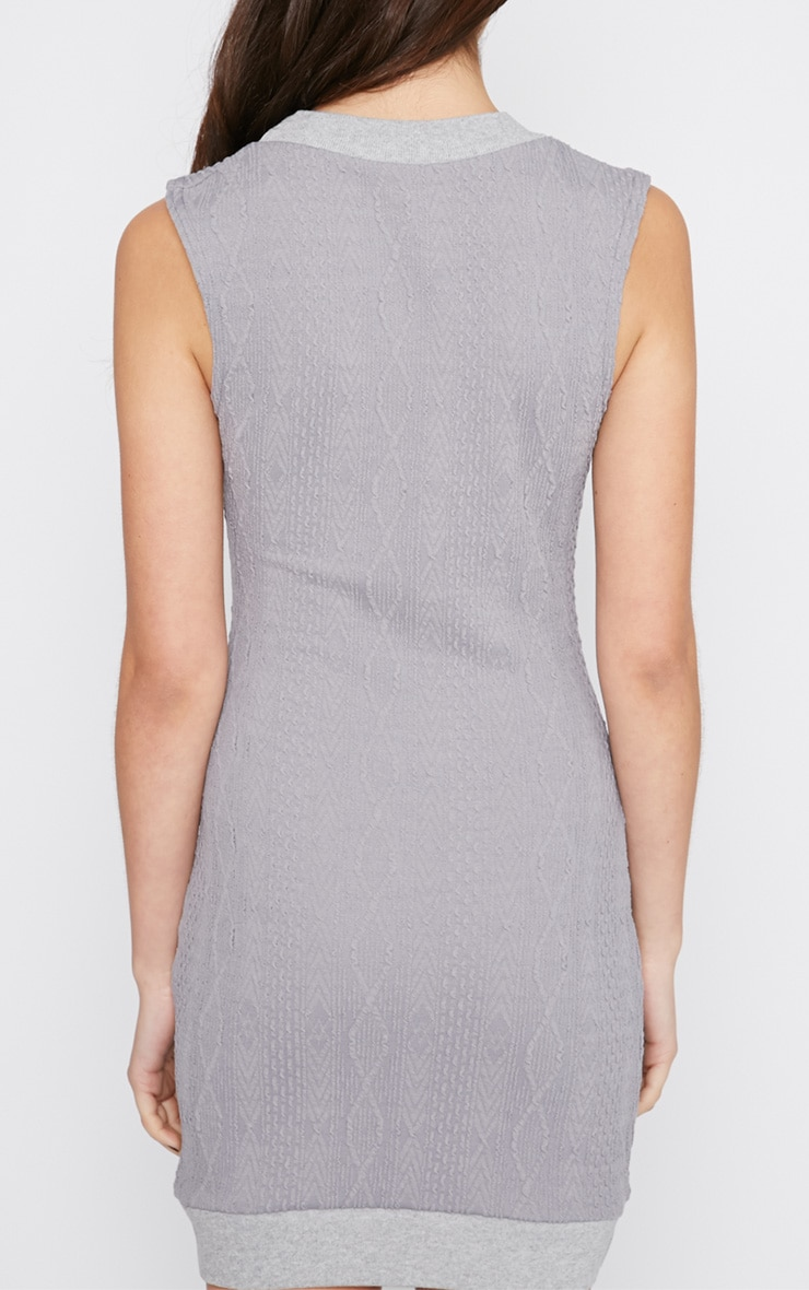 Darcie Grey Cable Knit Textured Sleeveless Dress 2