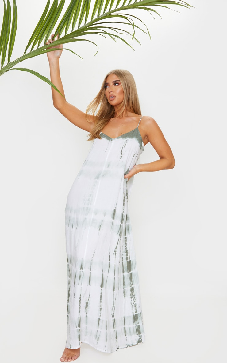 Olive Tie Dye Maxi Beach Dress 1