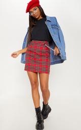 Red Tartan Check Chain Detail Mini Skirt 1
