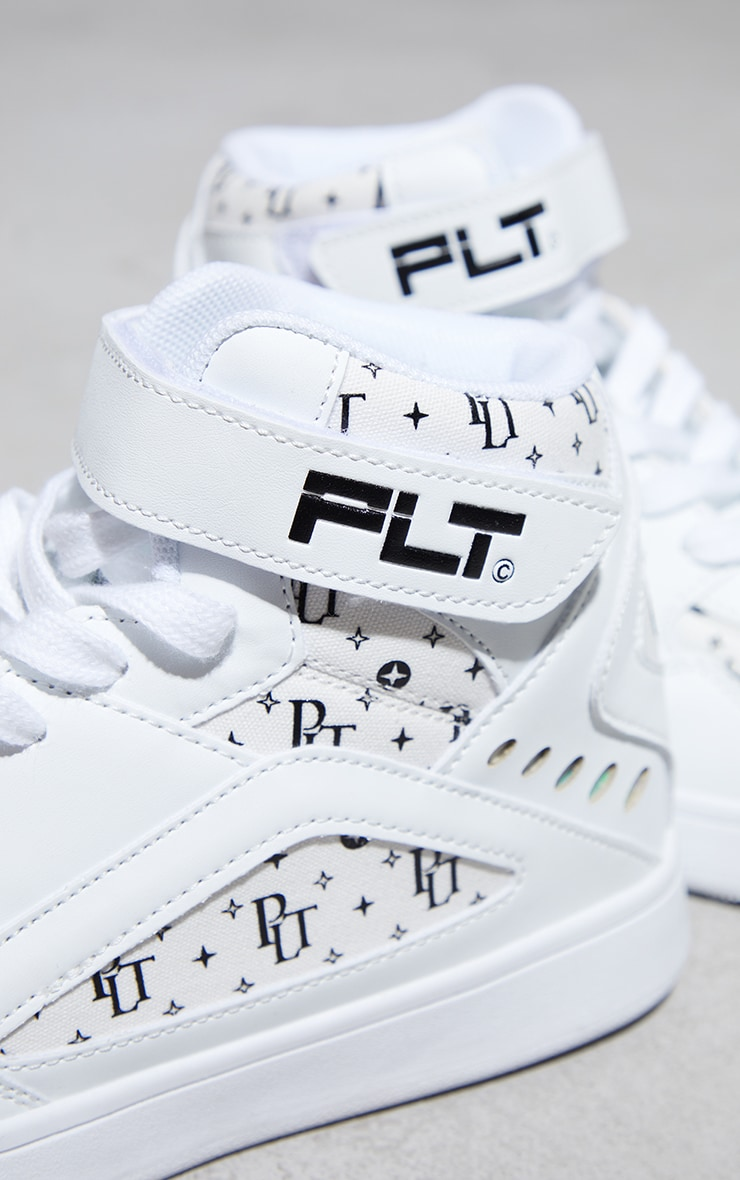 PRETTYLITTLETHING White Monogram High Top Trainers 4