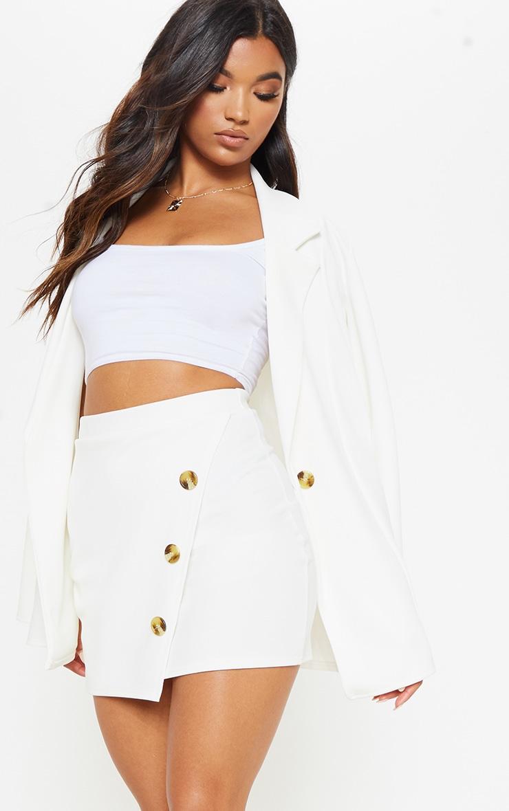 Cream Button Detail Skirt  1