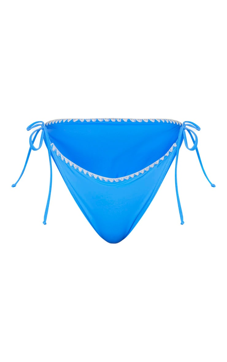 Blue Blanket Stitch Scoop Neck Tie Back Bikini Top 3