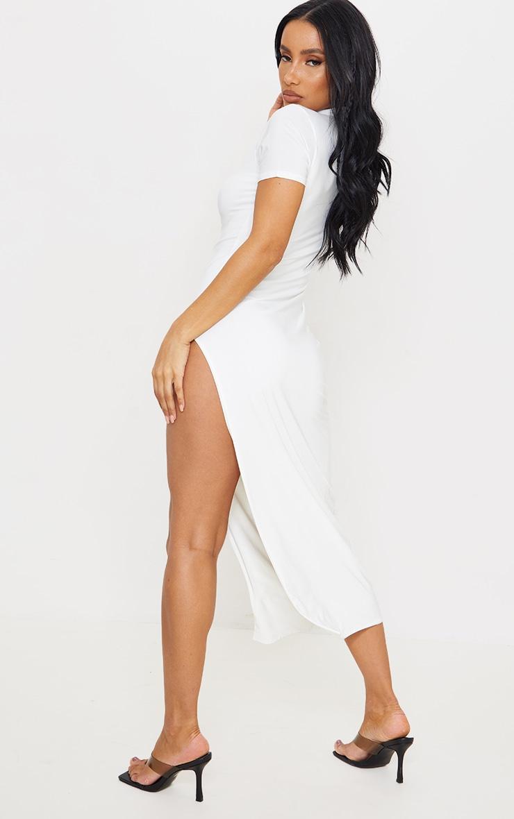 White Slinky Short Sleeve High Neck Detail Split Midaxi Dress 2