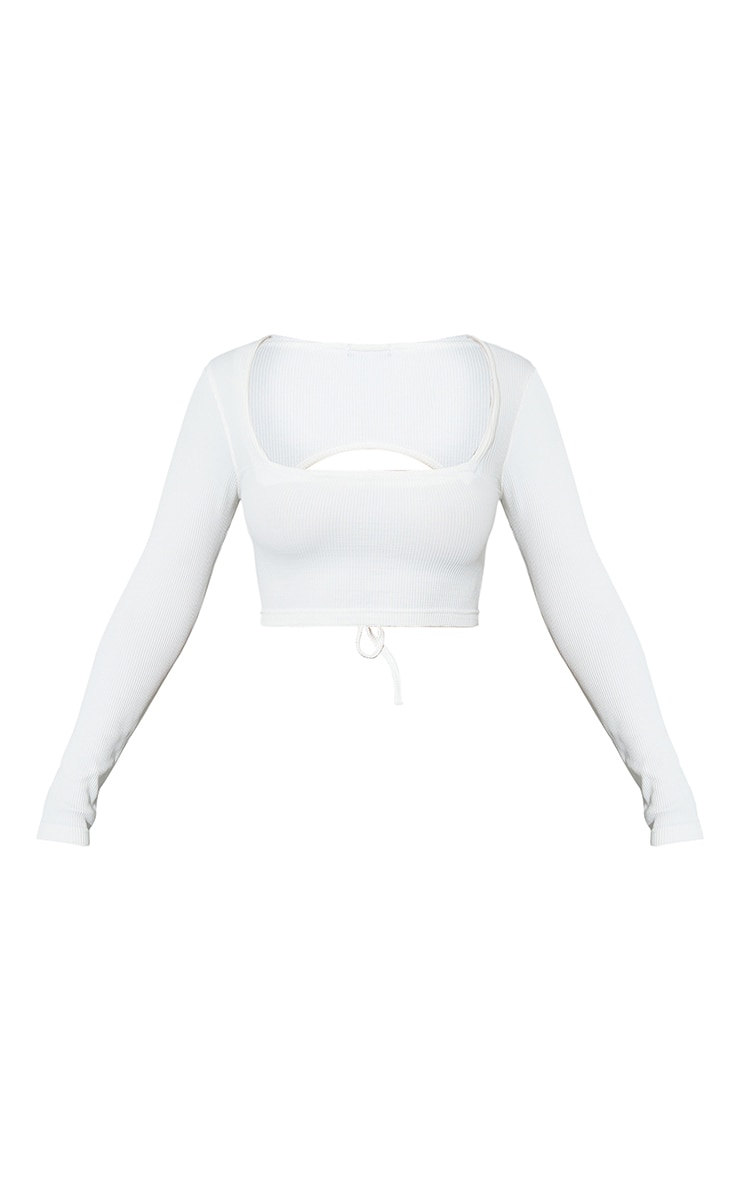 White Stretch Rib Square Neck Backless Tie Crop Top 5