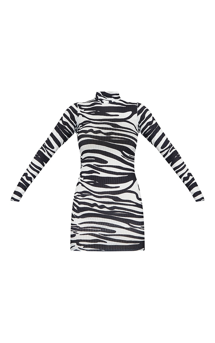 Monochrome Zebra Print Ribbed Long Sleeve High Neck Bodycon Dress 5