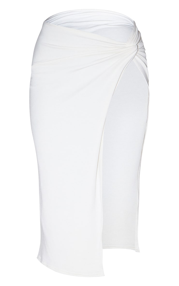 Recycled Cream Contour Jersey Twist Front Midaxi Skirt 5