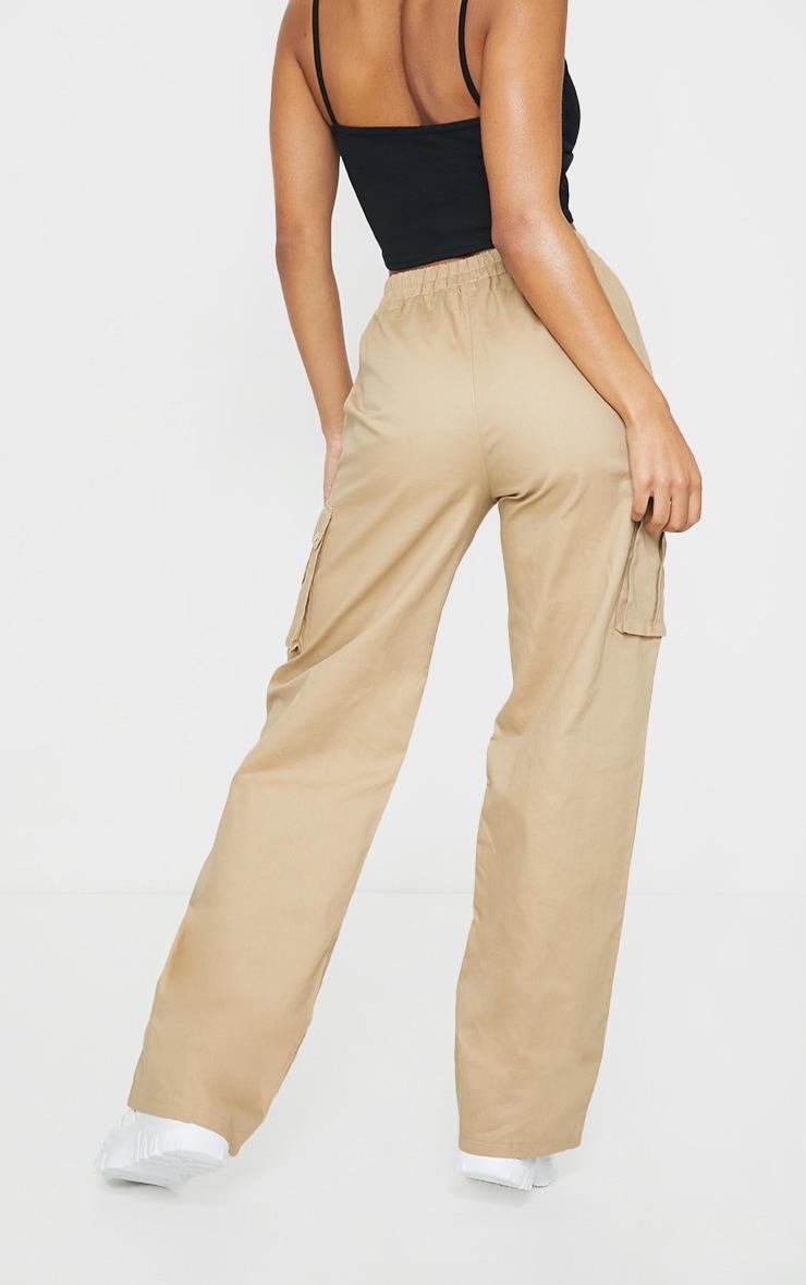 Stone Wide Leg Cargo Trousers 3