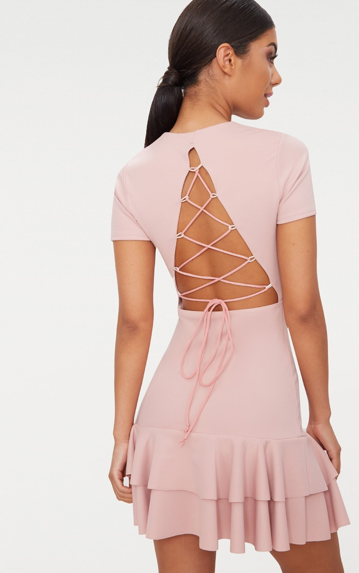 Dusty Pink Lace Up Back Frill Hem Bodycon Dress  1