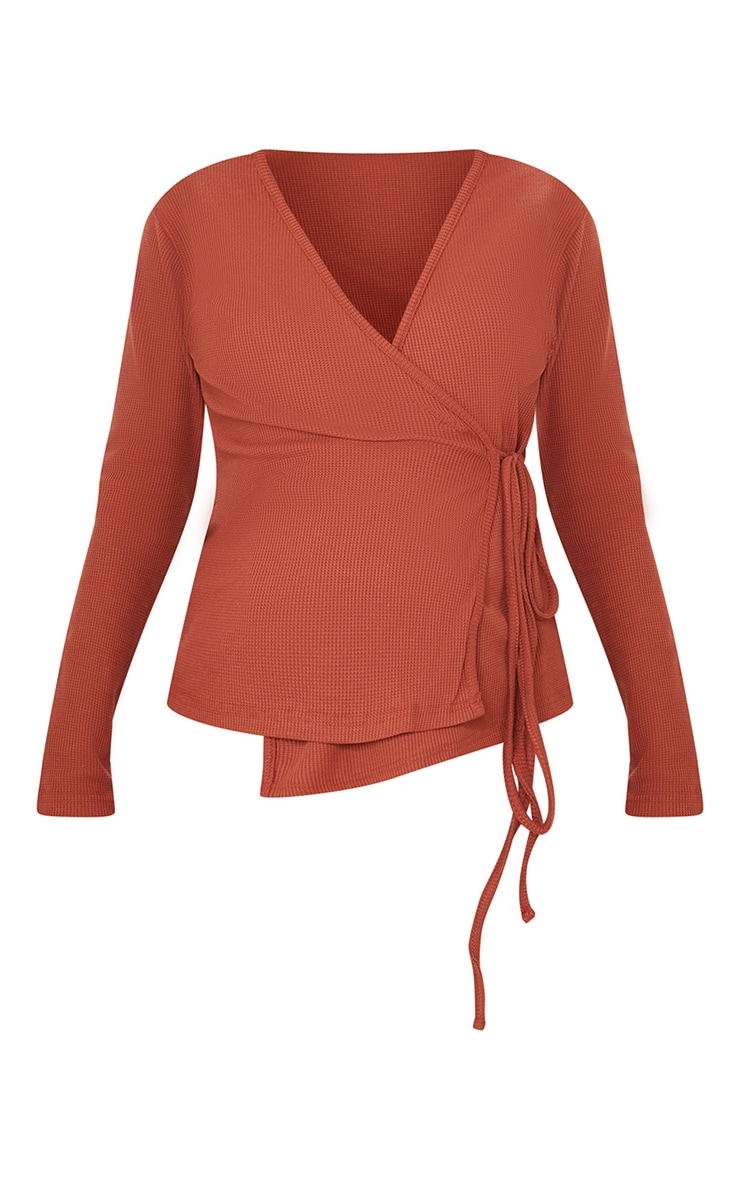 Maternity Rust Waffle Wrap Over Top 5